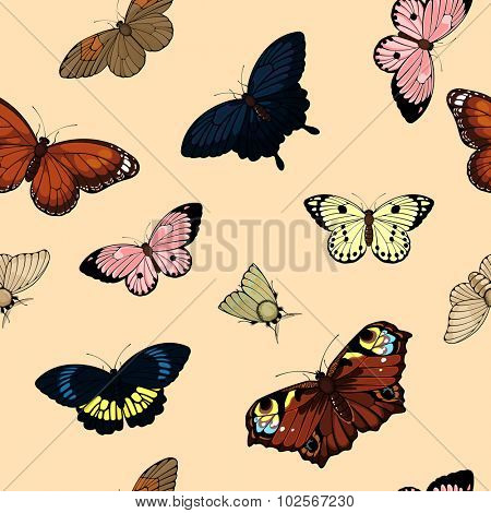 Seamless pattern with cute colorful butterflies (raster version)