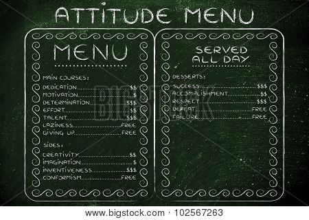 Humorous Menu With Possible Attitudes Choices And The Effort (or Cost) They Require