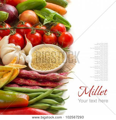Raw Millet In Bowl And Vegetables