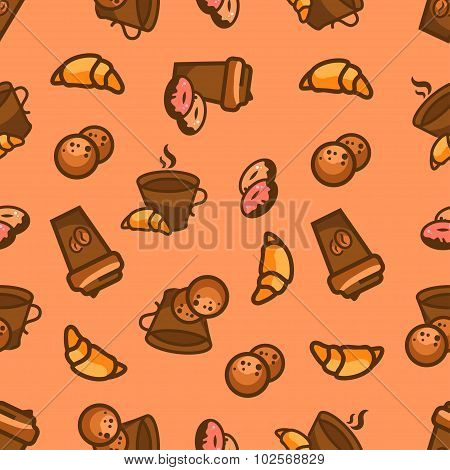 ?offee Seamless Pattern