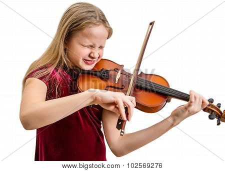 Blonde girl with violin making faces