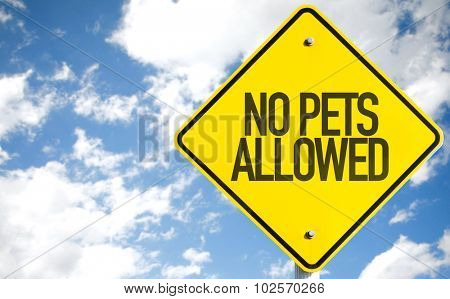 No Pets Allowed sign with sky background