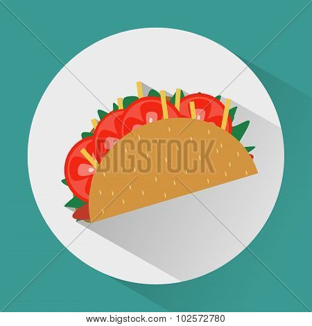 Taco Colorful Round Icon