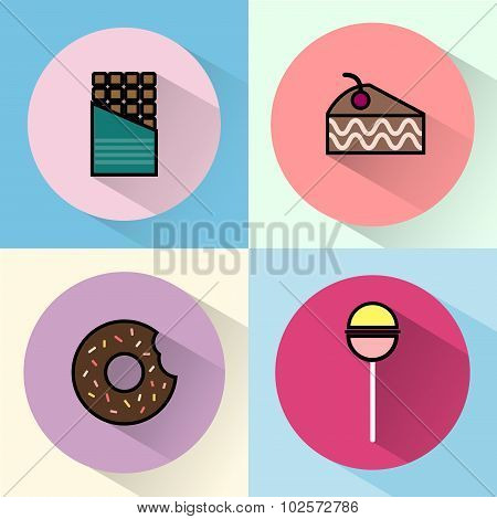 Sweet Treats Round Icon Set
