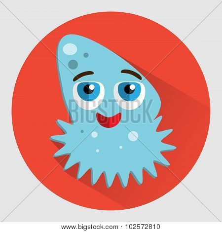 Ocean Jellyfish Cartoon Vector Icon