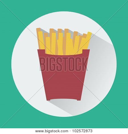 French Fries Packet Colorful Round Icon