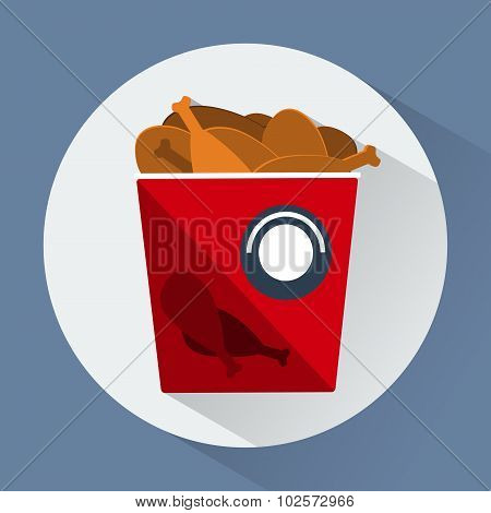 Bucket Of Chicken Legs Colorful Round Icon