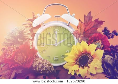 Autumn Fall Daylight Saving Time Clock Concept