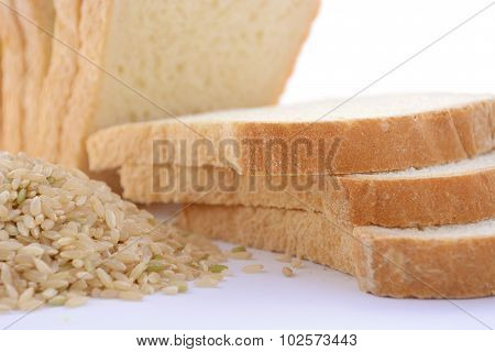 Loaf Rice Sourdough Bread With Raw Brown Rice.