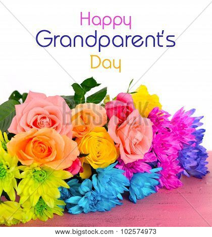 Happy Grandparents Day Flowers With Text.