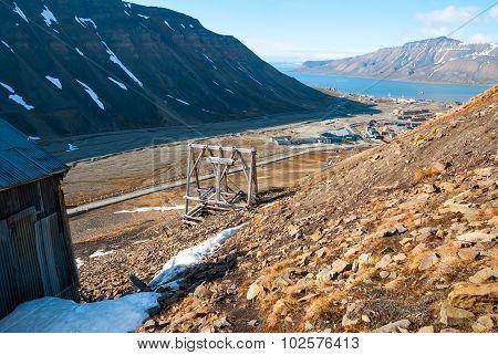 Abanodoned Coal Mine Station In Longyearbyen, Svalbard
