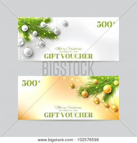 Gift Voucher Template With Christmas Fir-tree