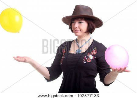 Brunette Girl Plays With Two Balloons