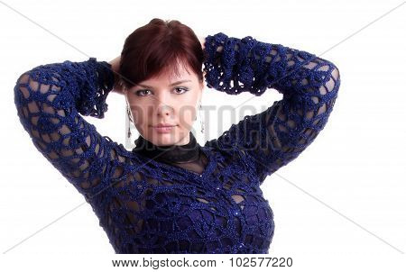 Brunette Girl In Lace Dress Puts Hands Behind Head