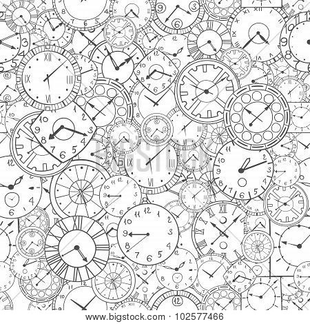 Doodle Clock, Hand Drawn Background