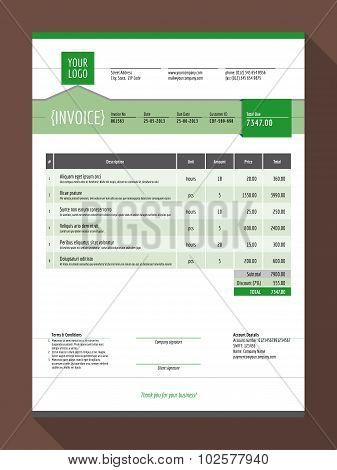 Vector Customizable Invoice Form Template Design. Vector Illustration. Green Color Theme