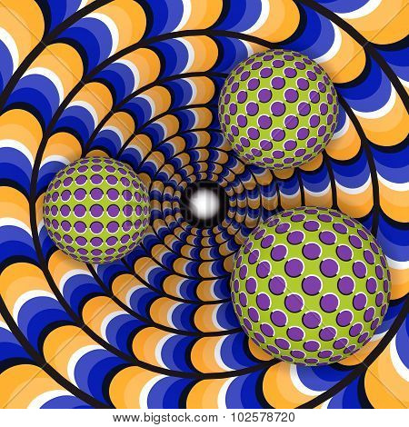 Optical illusion of rotation of three ball around of a moving hole