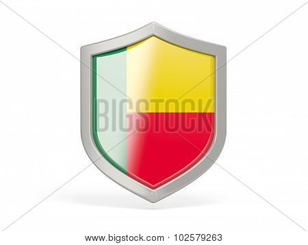 Shield Icon With Flag Of Benin
