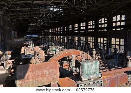 Abandoned Steel Mill Factory Rusting Generators