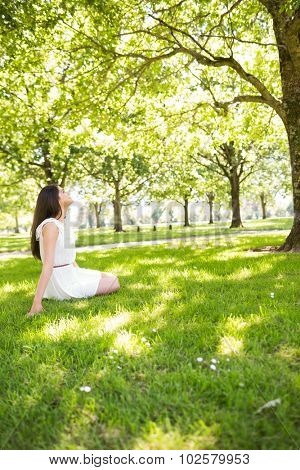 Side view of young woman sitting on grassland in park