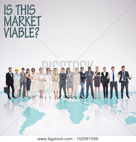 Multiethnic business people standing side by side against green world map on white background