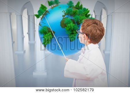 Cute pupil in lab coat against earth floating in room