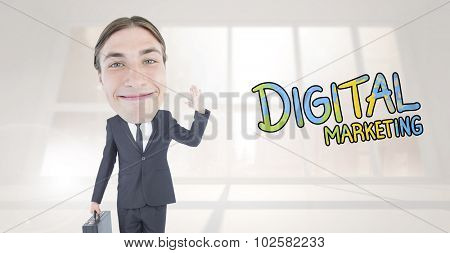 Geeky businessman waving against bright white room with windows