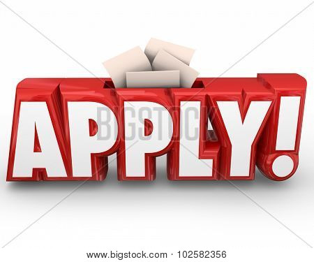 Apply word in red 3d letters and slot for submitting or sending in your application or other documents like resume for a job
