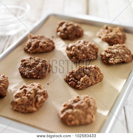 cookie sheet with chocolate no bake cookies