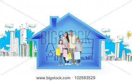 Happy family carrying shopping bags against house shape with living room sketch