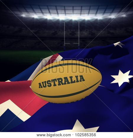 Australia rugby ball against rugby stadium