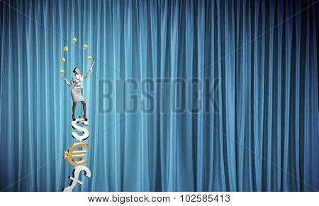 Young businesswoman balancing on currency signs and juggling with balls