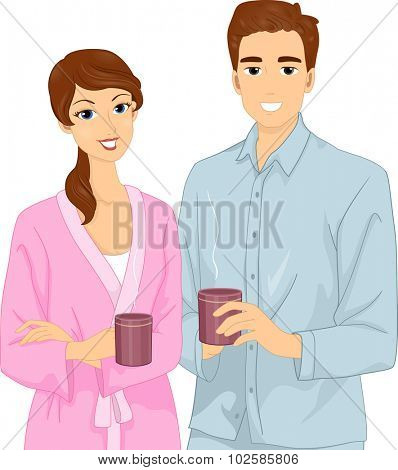 Illustration of a Couple in Their Pajamas Having Coffee