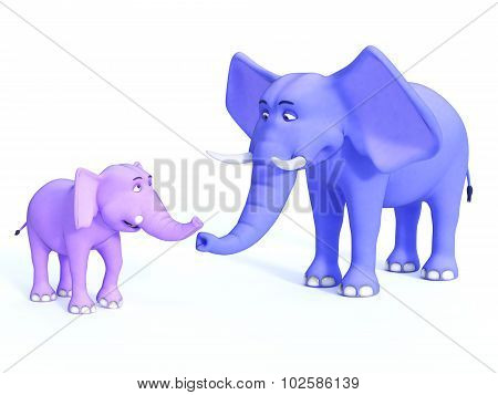 Cute Toon Elephant Family, Image 1.