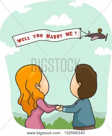 Romantic Illustration of a Man Proposing to His Girlfriend Through Skywriting
