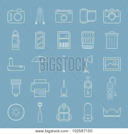 Amera And Accessories Line Icon Set