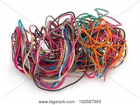 Tangled wire isolated on white