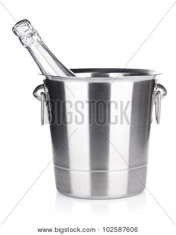 Champagne in bucket. Isolated on white background