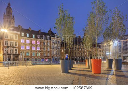 Night view of Lille old town central square