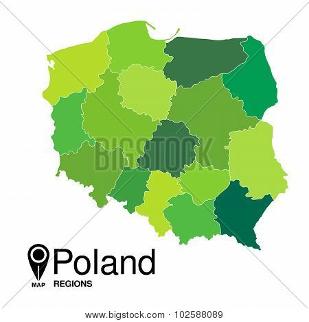 Regions Map Of Poland. Poland