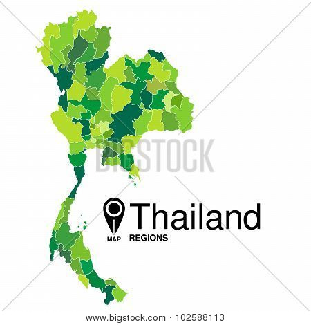 Regions Map Of Thailand. Thailand