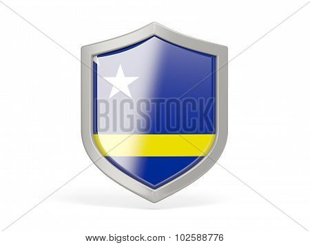 Shield Icon With Flag Of Curacao