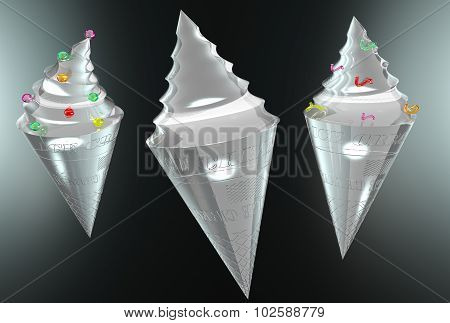 transparent ice cream on a black background