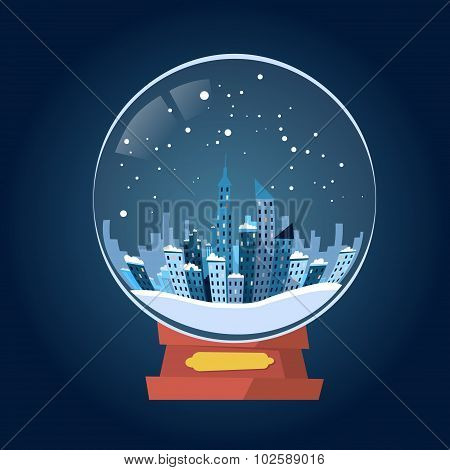 Wish Glass Ball Winter City View Snow