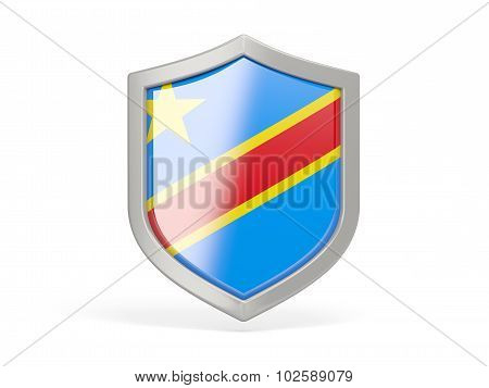 Shield Icon With Flag Of Democratic Republic Of The Congo