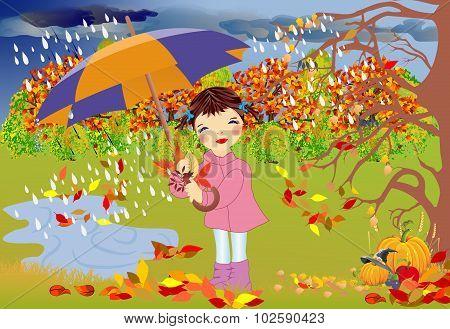 autumn walk in the rain