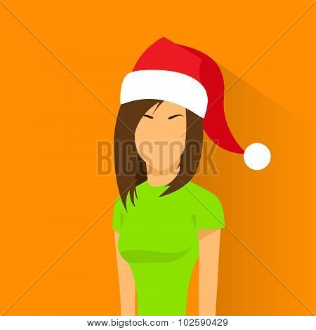 Profile Icon Female New Year Christmas Holiday Red Santa Hat Avatar Portrait Casual Person Silhouett