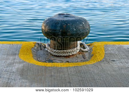 Old Rusty Iron Mooring Bollard
