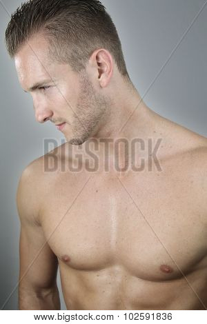 handsome bare chested man