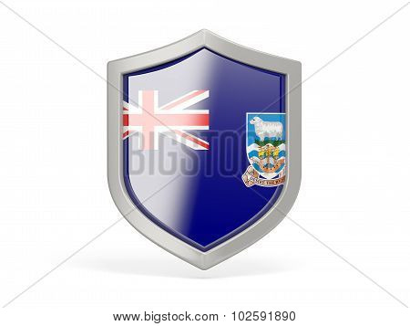 Shield Icon With Flag Of Falkland Islands